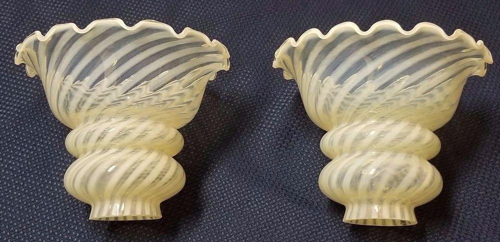 Details About Pair Vintage White Milk Glass Hobnail Fluted