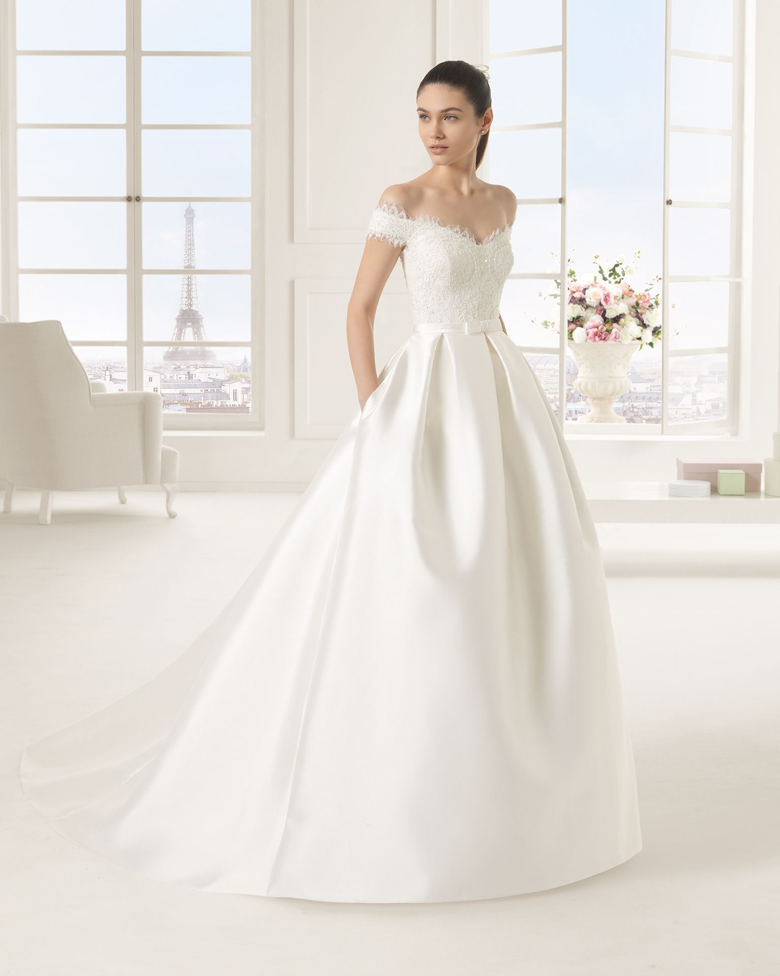 b8e2930292e6 Off-the-shoulder Lace Bodice Ball Gown Satin Wedding Dress with Bow ...