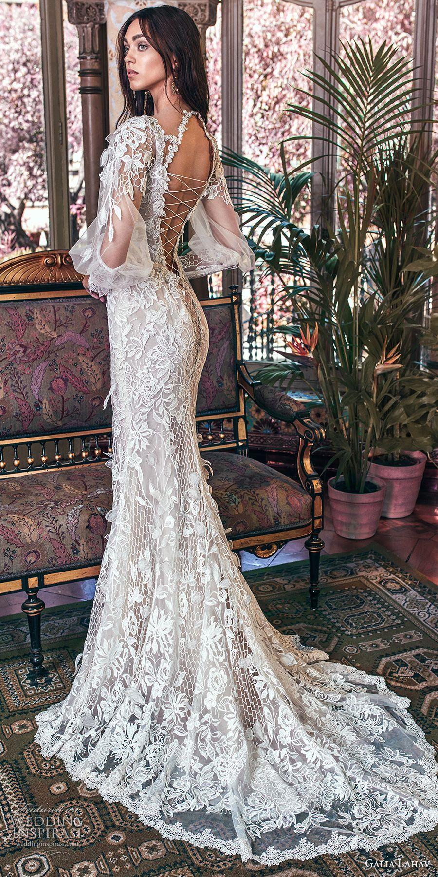 Galia lahav spring bridal long bishop sleeves deep plunging v
