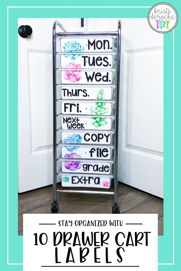 Tackle classroom organization with a 10 drawer rolling cart! Customize these succulent theme editable labels to meet your needs! BackToSchool 10drawerrollingcart is part of Resource classroom -