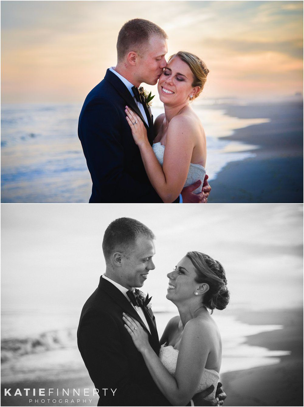 Bride And Groom Photos At Sunset During Long Island Beach Wedding Nautical Details For