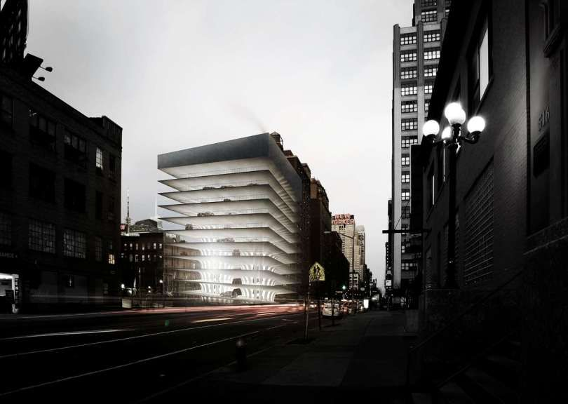 POOR-BUT-BEAUTIFUL-Manhattan-Parking-Garage-competition-11 / 1st prize – Parking Tower by Jonathan Benner and John Bassett