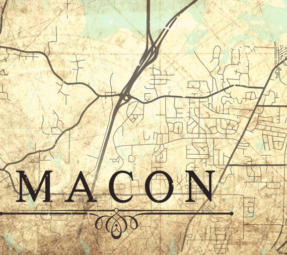 MACON Canvas Print Georgia GA Vintage Map Macon By NatalyBorichArt - Georgia map macon