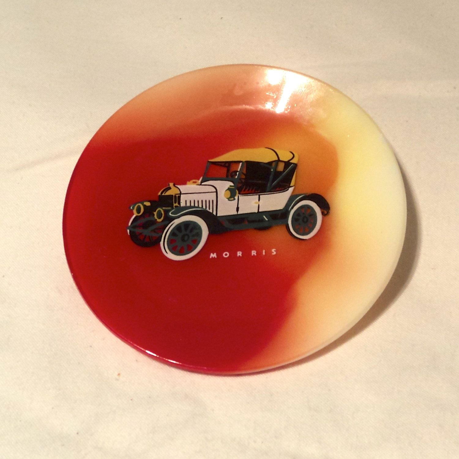 Mid Century Modern MORRIS Car Marbled Red Yellow Glass Plate Collectible Retro Vintage 4 inch Decorative Tray by saram1978 on Etsy