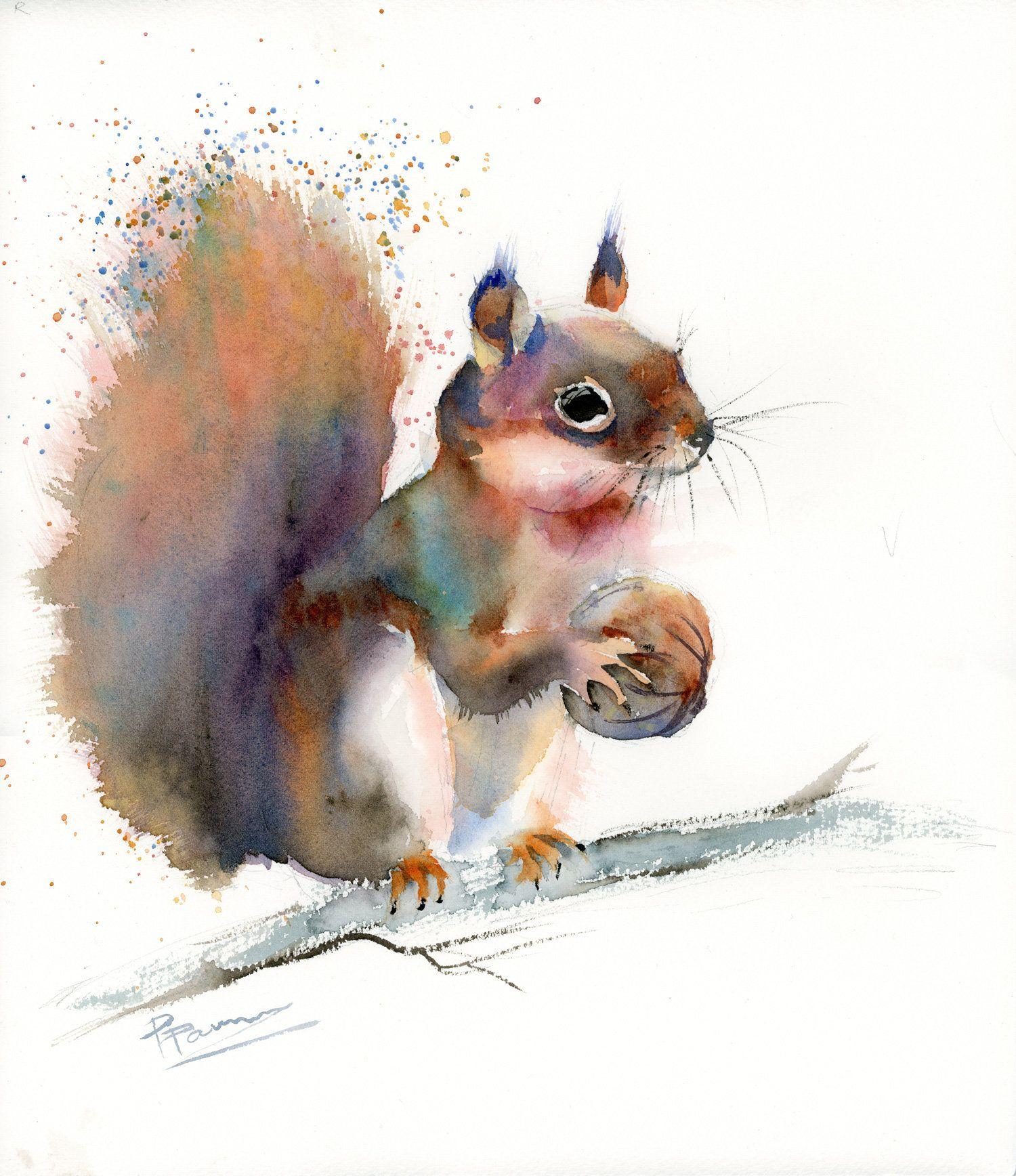 Squirrel painting Original Watercolor wall art decor