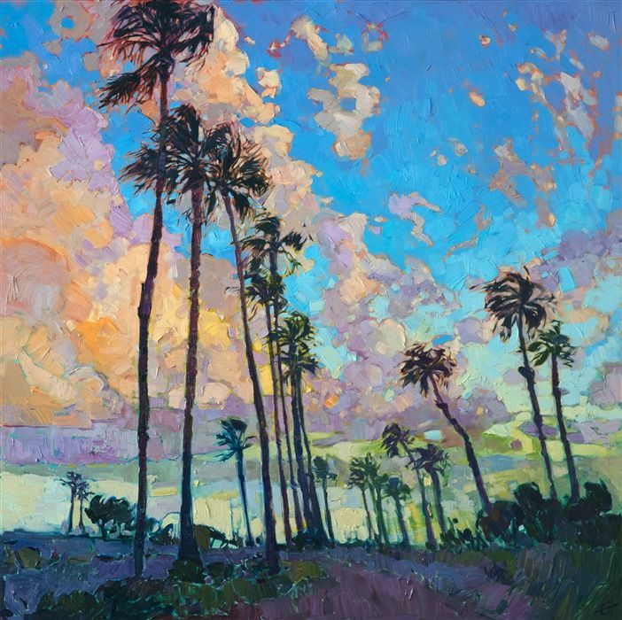 San Diego Harbor Palm Trees Oil Painting For Sale By Contemporary