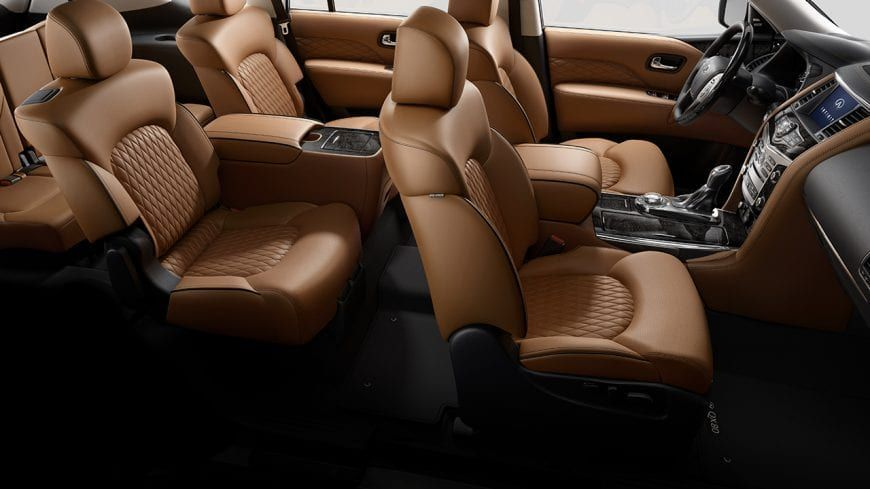 2019 Infiniti Qx80 Luxe Interior Spacious Second Row Seating With Up To 41 Inches Of Class Leading Leg Room Shown In W Infiniti Usa Infiniti Luxe Interiors