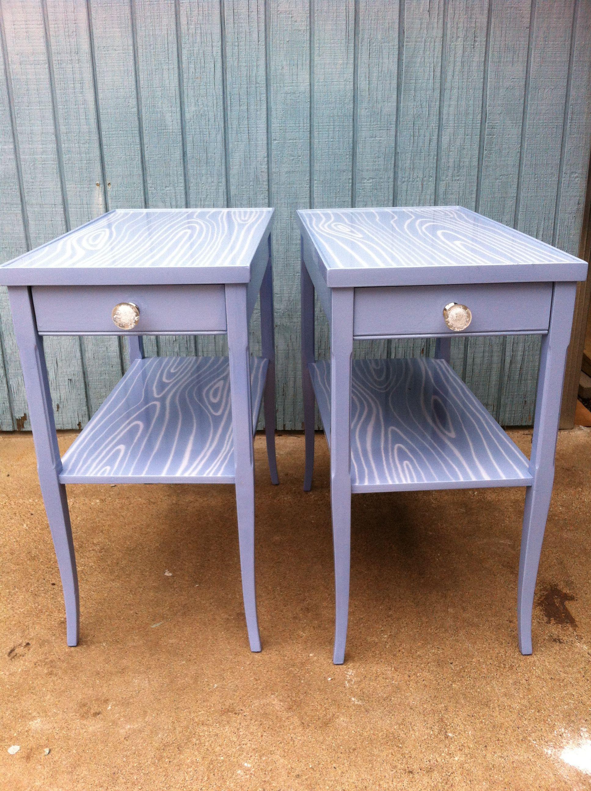 vintage side tables in lavender faux bois... www.revelationdecor.com