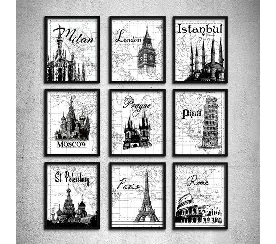 Wedding gift typography art travel poster set 9 prints london wedding gift typography art travel poster set 9 prints london paris pisa world map european honeymoon gumiabroncs Images