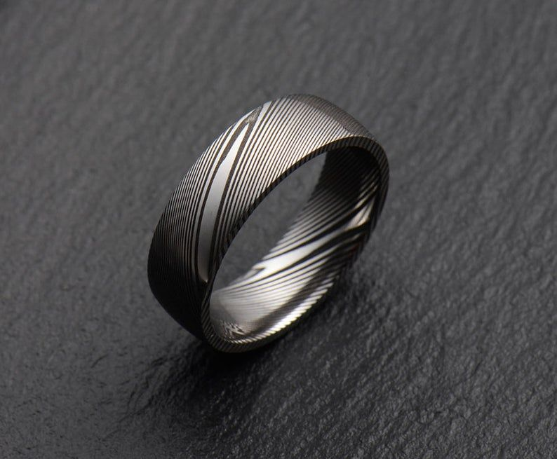 Stainless Damascus Steel Mens Wedding Band Engagement Ring Etsy Damascus Steel Ring Mens Wedding Bands Damascus Wedding Band