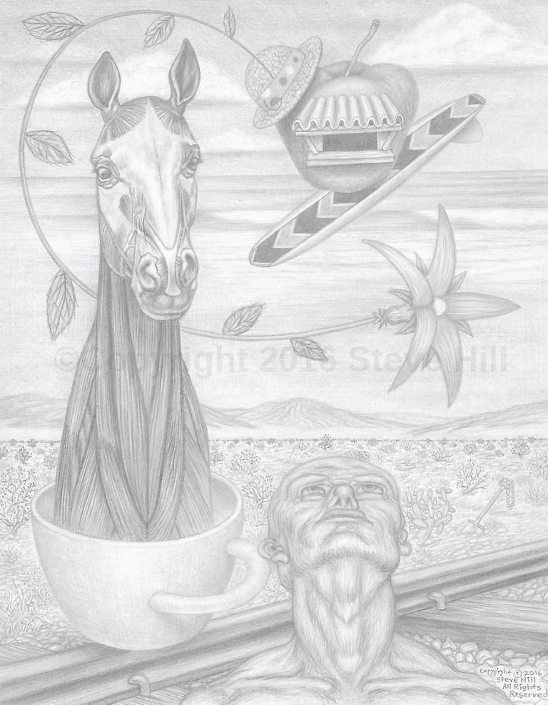 Dr. Applehead goes to the Beach  #pencildrawing #fineart #blackandwhite #surreal #fantasy