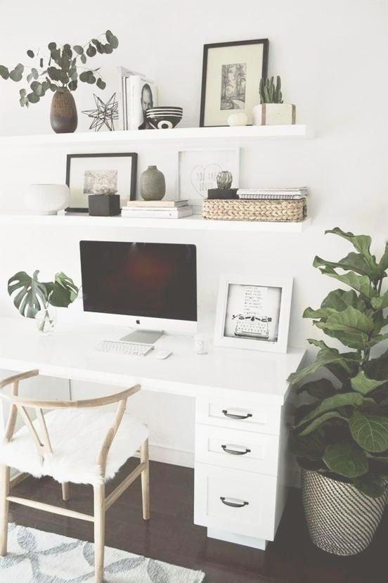 This office staging is well organized It looks nice and is functional The plants are a nice touch home decor