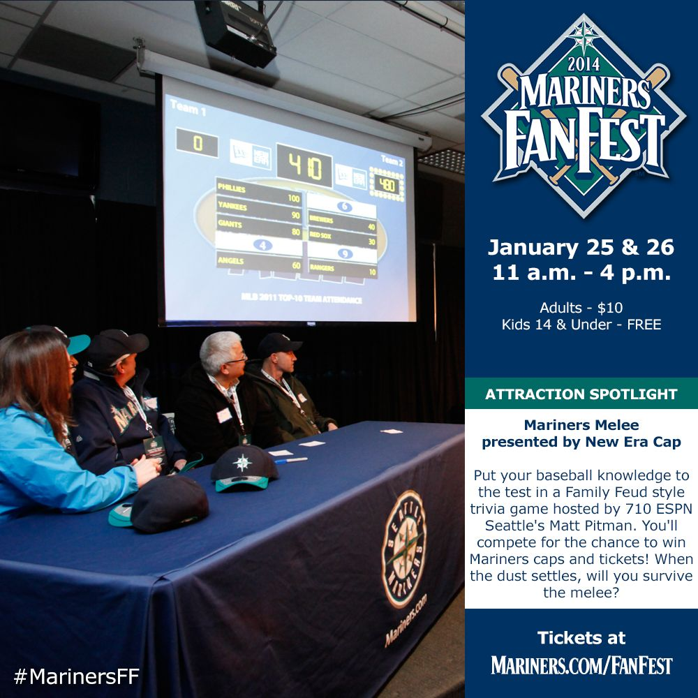 Put your baseball knowledge to the test in a Family Feud style trivia game, #Mariners Melee presented by New Era Cap. #MarinersFF