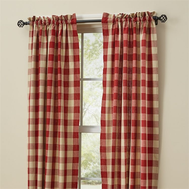 Garnet Red Wicklow Window Curtain Panels 72 X 63 Country Style
