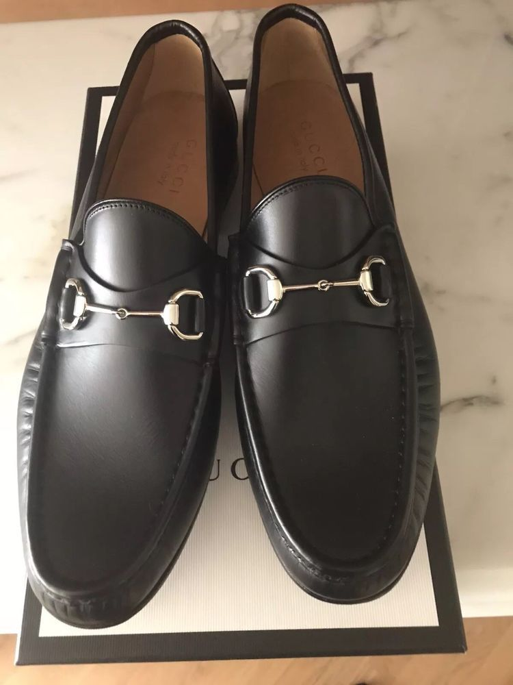 29e17a65a53 eBay  Sponsored NWT Gucci Jordaan Bit Loafer Men s Black Leather Shoes Size  12 Original 730.00