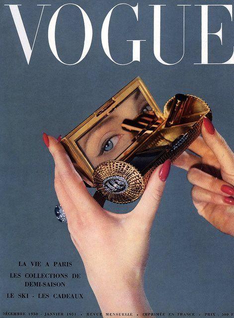 French Vogue, December 1950/January 1951.  Photo: Arik Nepo. Powder compact 1950s