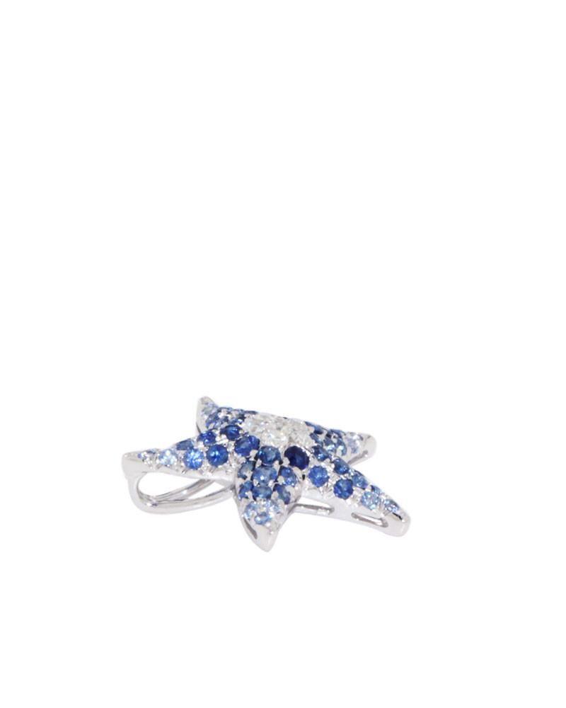 White gold pendant blue sapphires starfish pendant diamonds