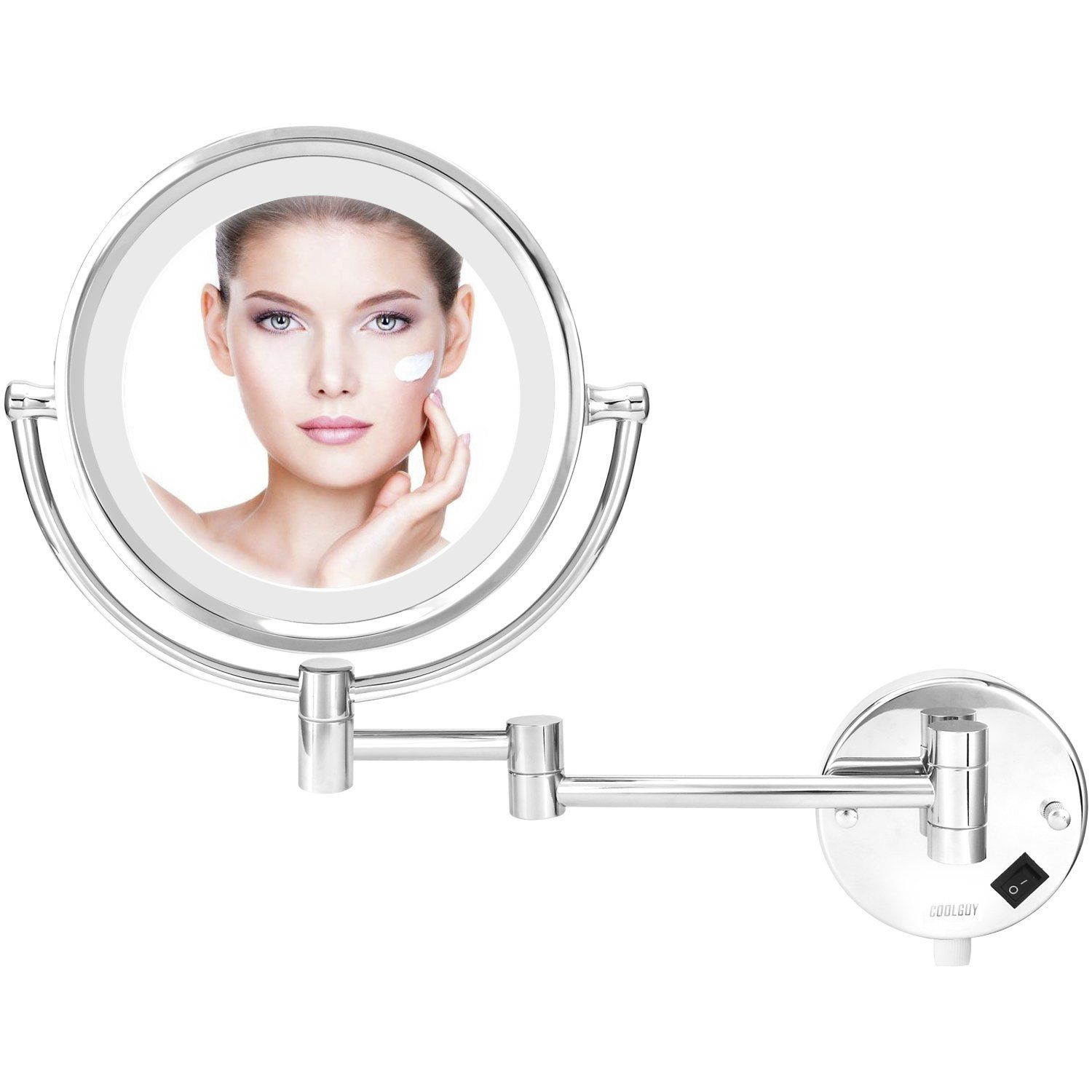 Coolguy Lighted Makeup Mirror Wall Mount Mirror Wall Vanity Mirror With 8 5 Inch 1x 10x Magnificati Wall Mounted Mirror Makeup Mirror With Lights Makeup Mirror
