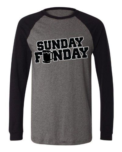 0875fc1f Sunday Funday Beer Mug Mens Long Sleeve Baseball T-shirt Funny Beer Drinking  Football Sunday Funday! Design Baseball Shirt (Charcoal/Black Large) .