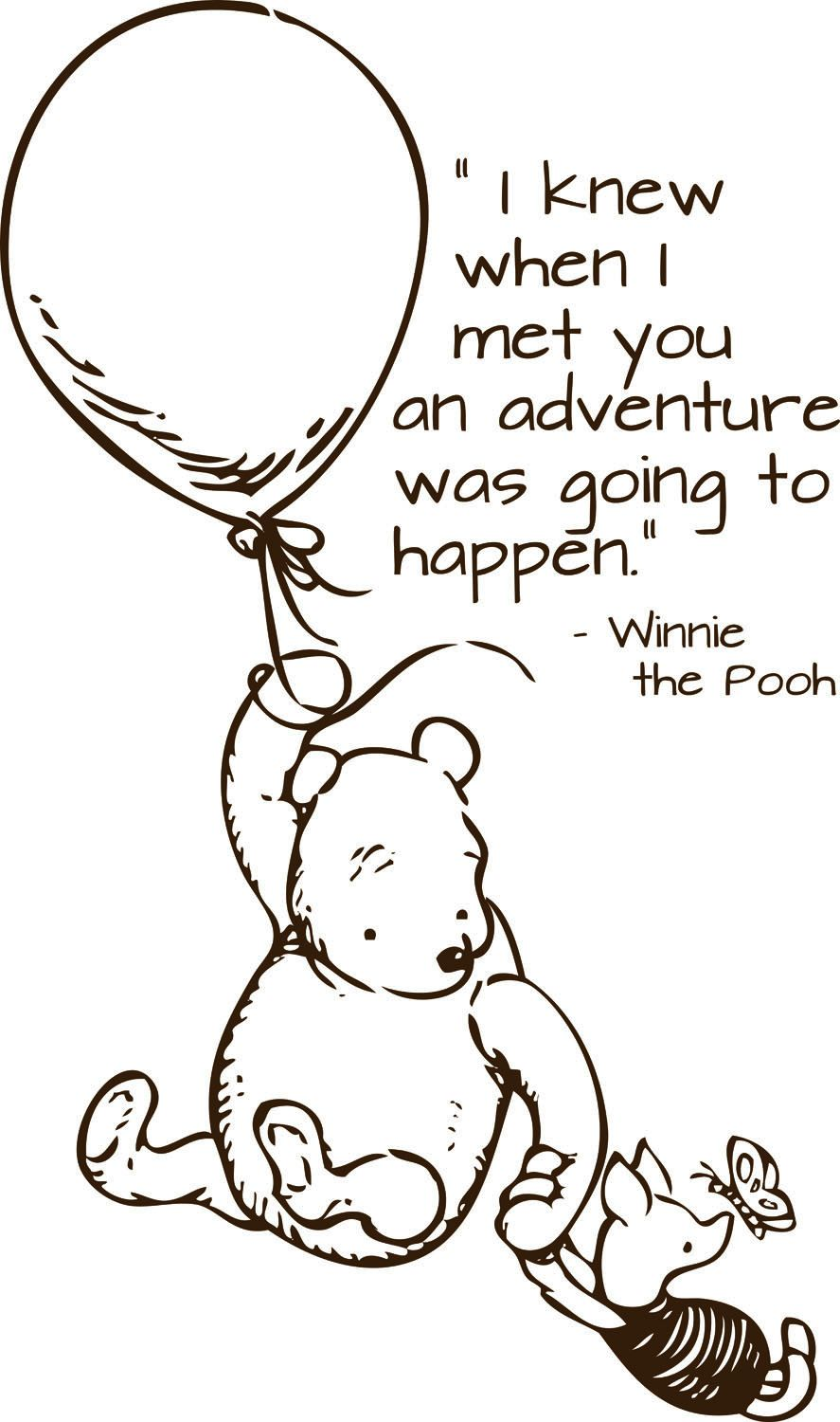 Pooh Quotes About Friendship Classic Pooh Wall Decal Adventure Quotewildgreenrose On Etsy