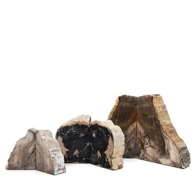 Petrified Wood bookends are some of our most popular pieces of decor. Classic examples of American lapidary craftsmanship, they make great gifts for lovers of fossils, trees or books!  Petrified wood is the result of a tree's trunk or limbs having turned into stone by the process of permineralization. This means that more-or-less all of the original organic materials have been replaced with minerals.