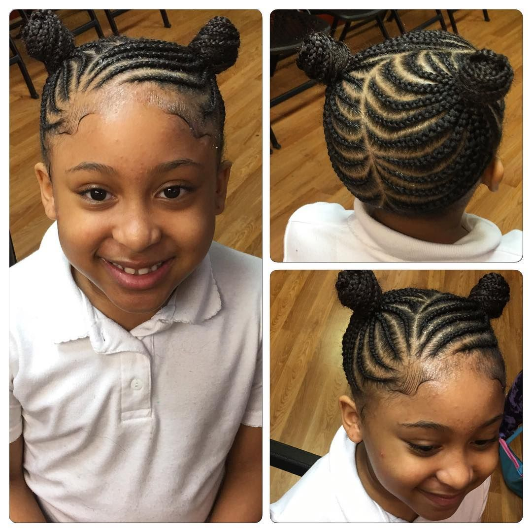 Darling Braids And Double Bun Cool Braid Hairstyles Kids Hairstyles Kids Braided Hairstyles