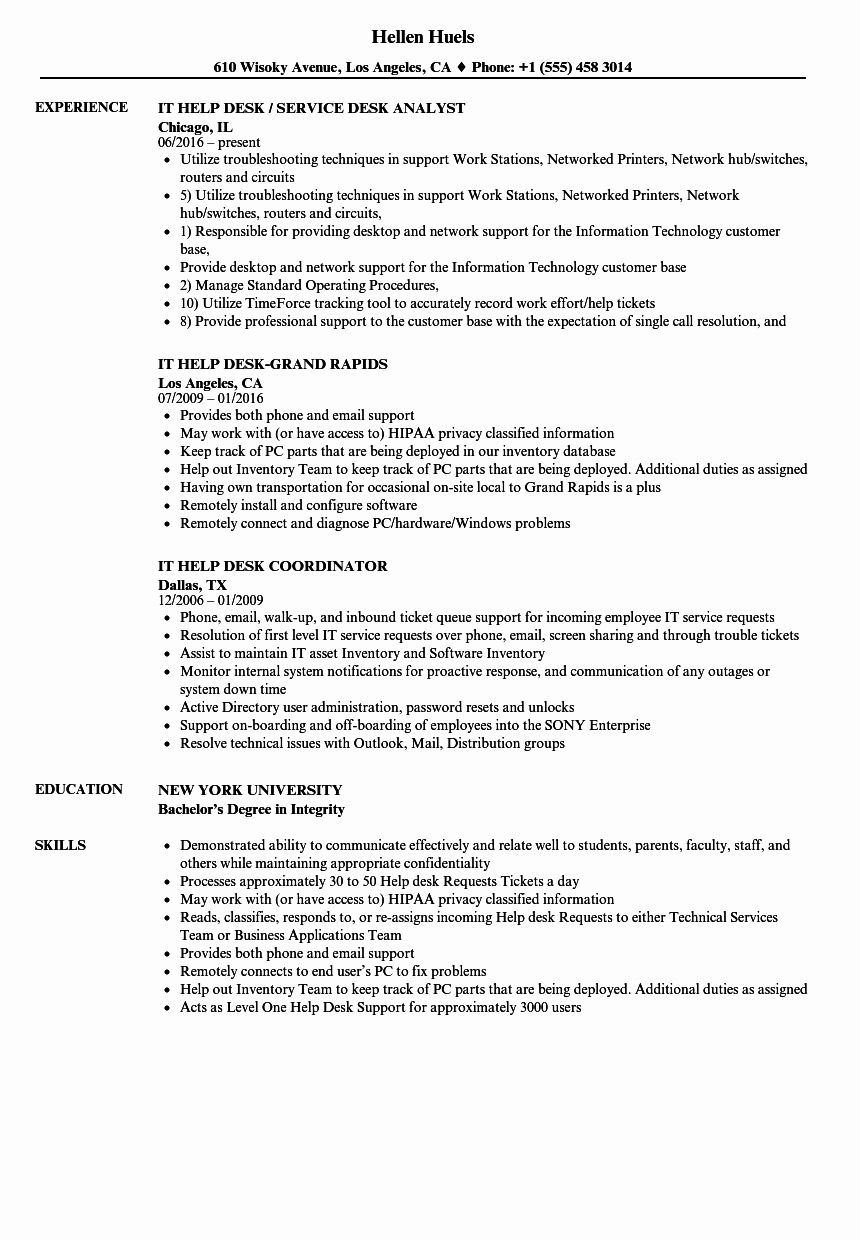 It Help Desk Resume Examples Best Of It Help Desk Resume