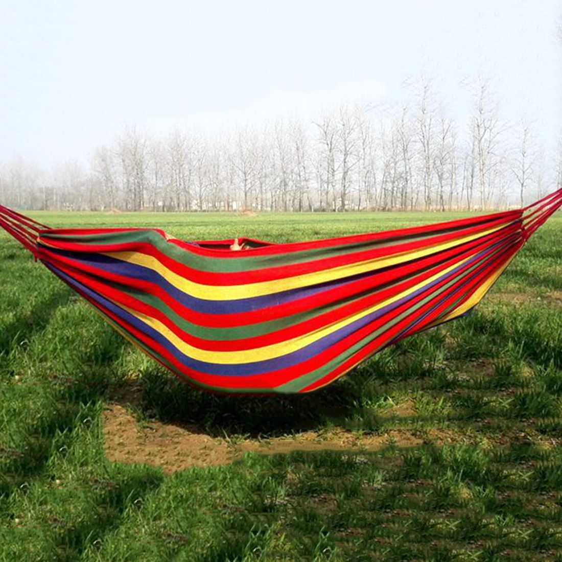 Outdoors Portable Camping Parachute Sleeping Double Hammock Garden Swing Hammock Hanging Bed Travel Camping Swing Canvas Stripe Sleeping Bags Sports & Entertainment