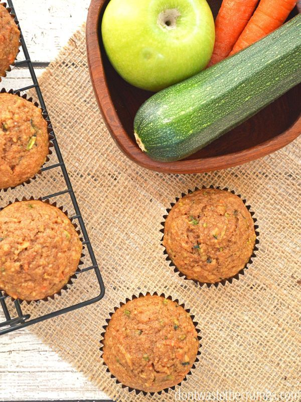 Zucchini Muffins with Apples and Carrots Hands down, our favorite breakfast muffin recipe during the summer - zucchini muffins with apples and carrots! It's an easy recipe, and clean eating with only natural sweeteners. Even the pickiest kids will love these for breakfast, as snacks and even for lunch! Yes, I said lunch!