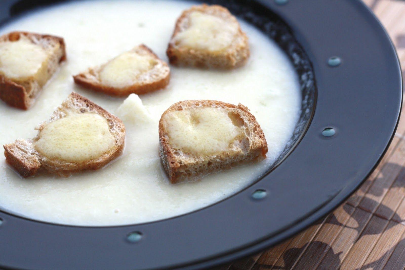 Creamy Cauliflower Soup with Havarti Croutons