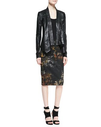 Leather Cozy Jacket & Abstract Painted Print Tube Skirt by Donna Karan