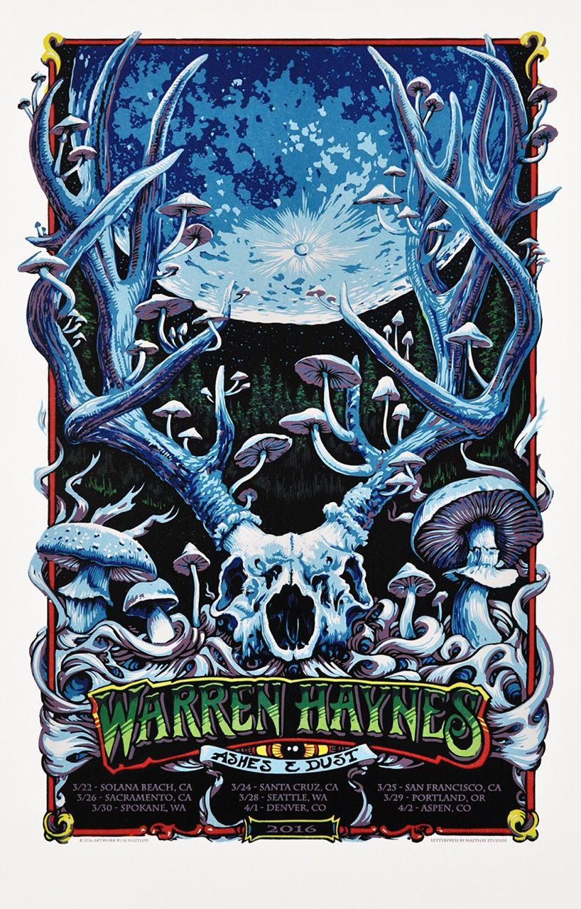 Warren Haynes Ashes Dust Poster By Aj Masthay Concert Posters Tour Posters Poster