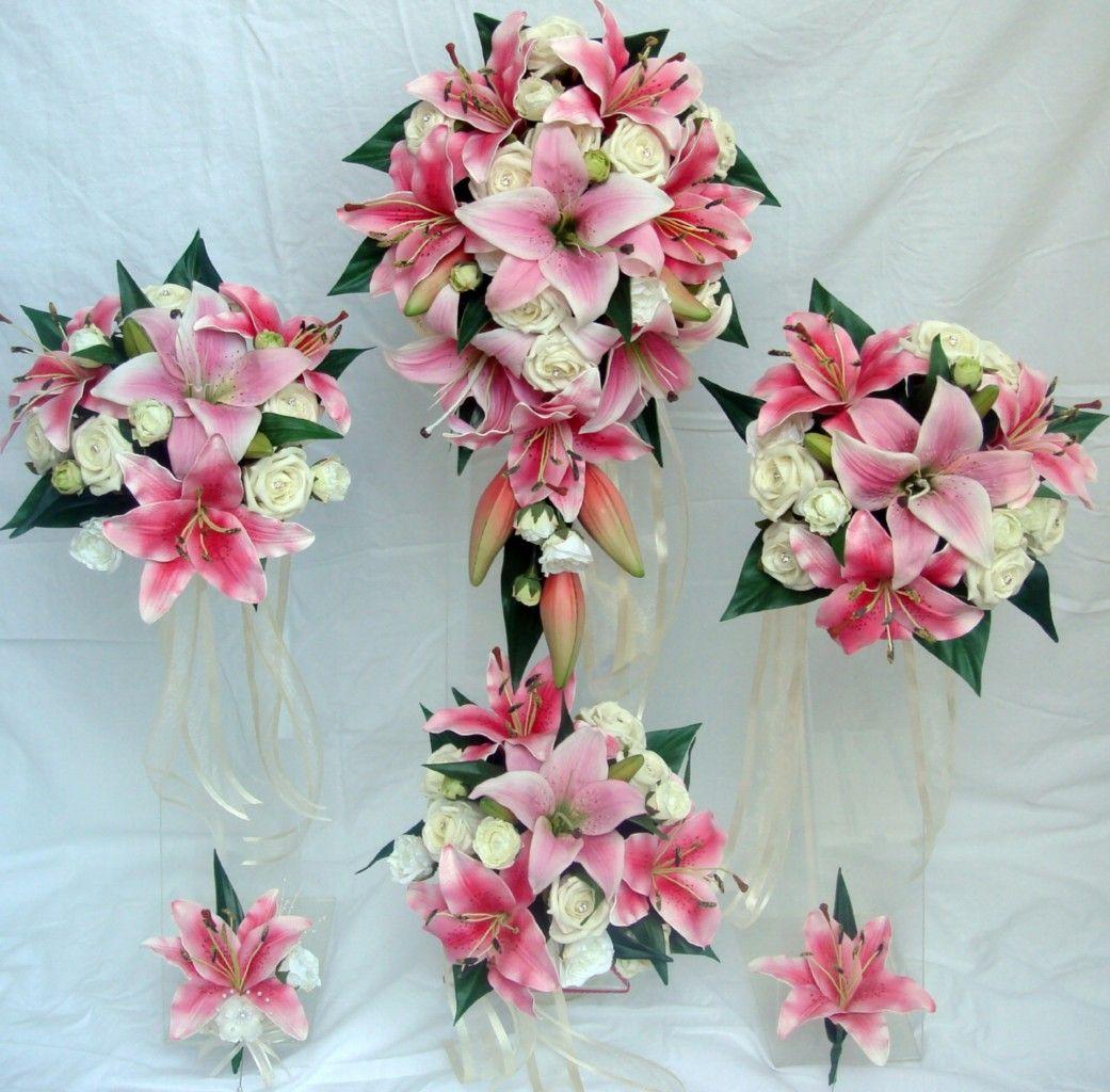 Wedding Bouquet Set Pink Lilyivory Rosediamantes Wedding Ideas