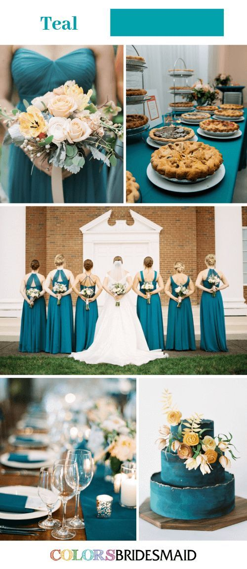 All 30+ Blue Wedding Color Palettes Teal bridesmaid
