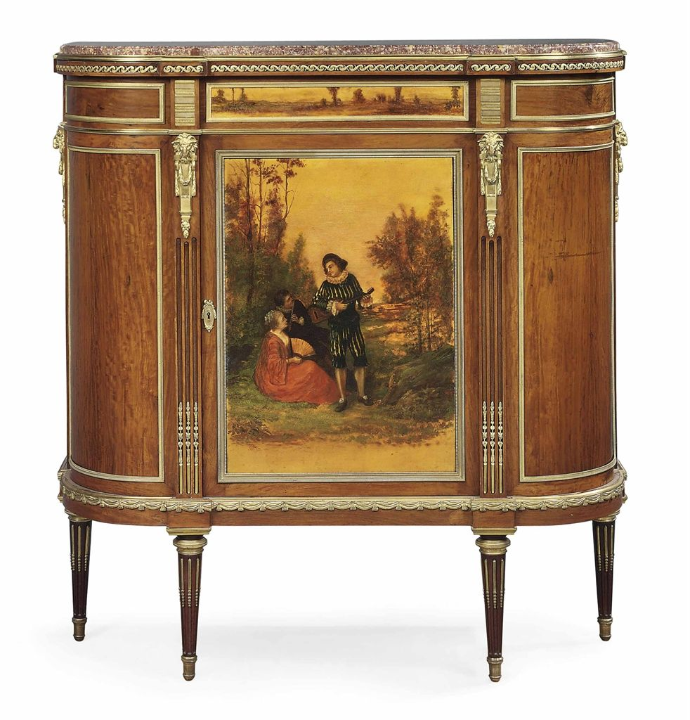 A French Ormolu Mounted Mahogany And Vernis Martin Meuble D Appui Of Louis Xvi Style By G French Painted Furniture Gilded Furniture Luxury Furniture Stores