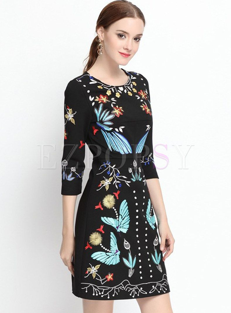 Shop for high quality Vintage Embroidery Three Quarters Sleeve Charming Skater Dress online at cheap prices and discover fashion at Ezpopsy.com