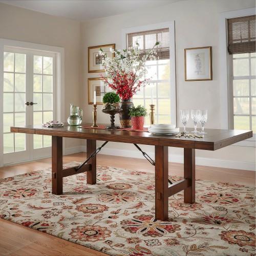 Weston Home Clayton Dining Table Rustic Oak Brown