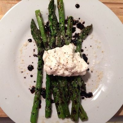 Burrata with Grilled Asparagus and Reduced Balsamic - Sweet | Savory