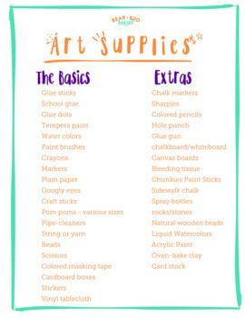 Art Supply List for Home
