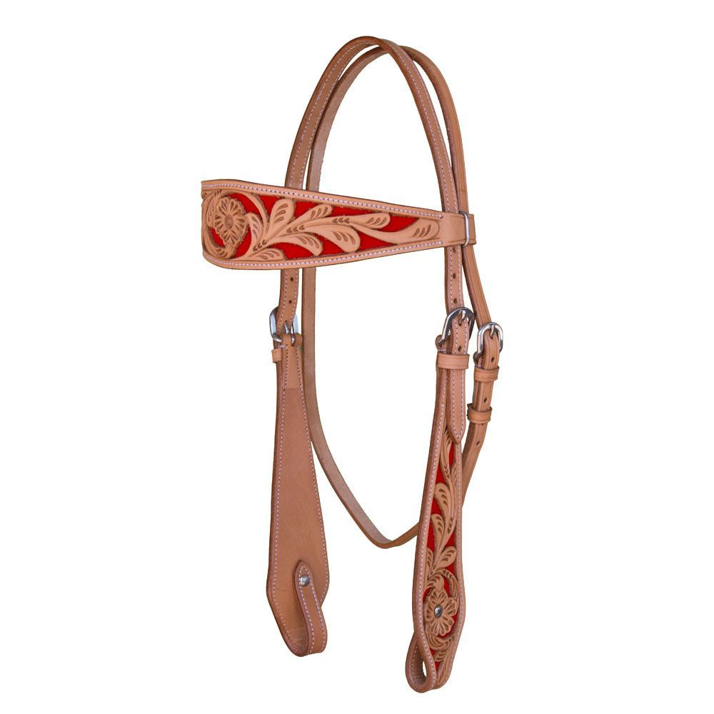 Western Headstall Two Toned Tooled Red Background
