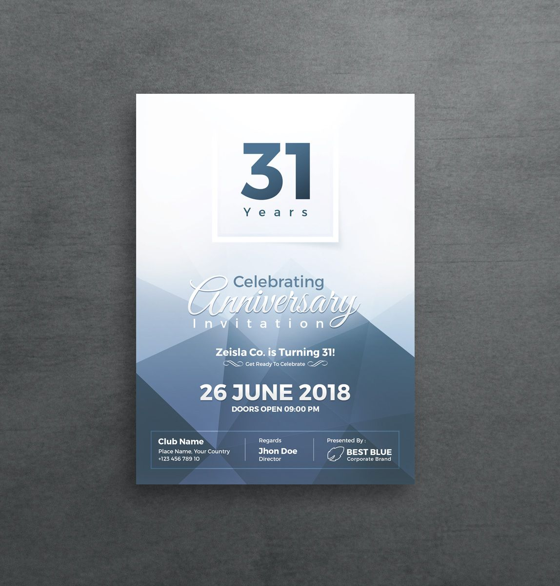 Athena Elegant Anniversary Invitation Template - Graphic Templates