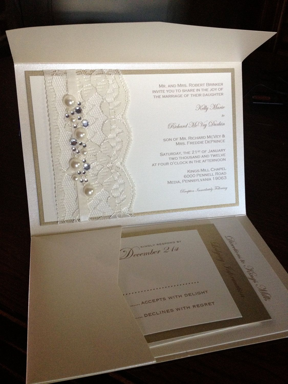 sample lace and rhinestone wedding invitation  rsvp card