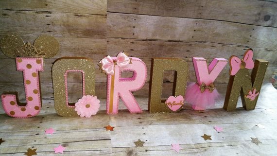 Pink And Gold Minnie Mouse Party Pink And Gold Partyletters - Minnie mouse decoration de chambre pour bebe
