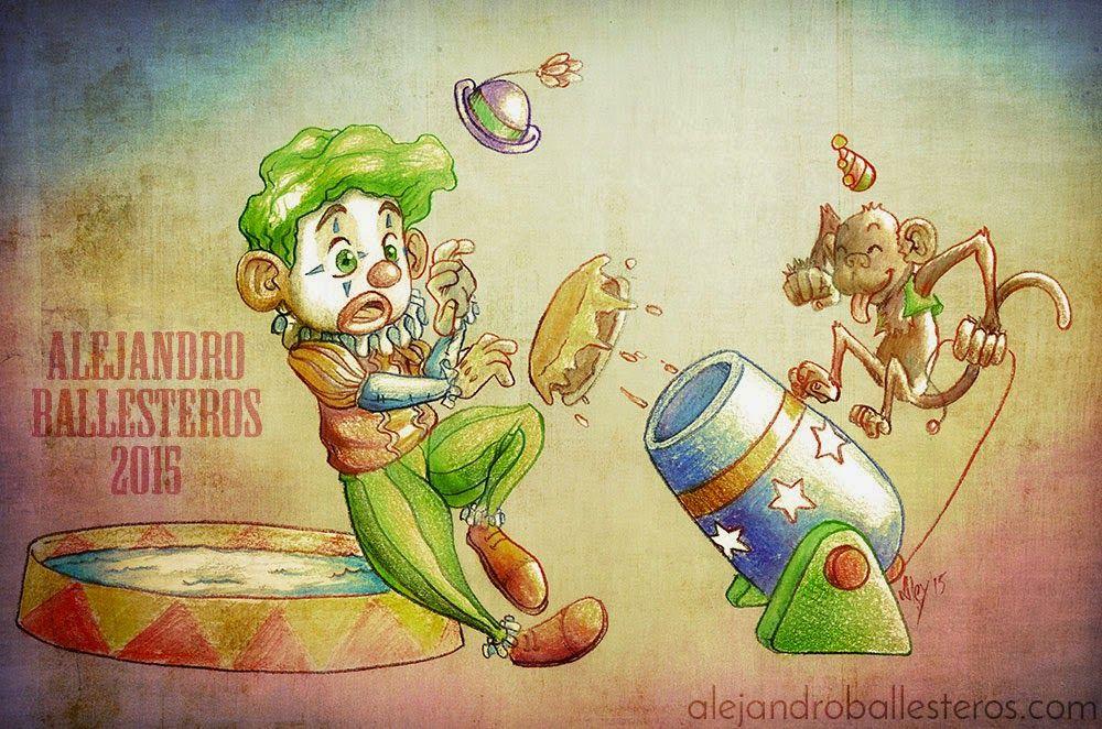 ilustracion con #lapices sobre el #circo con un #payaso y un #mono ...