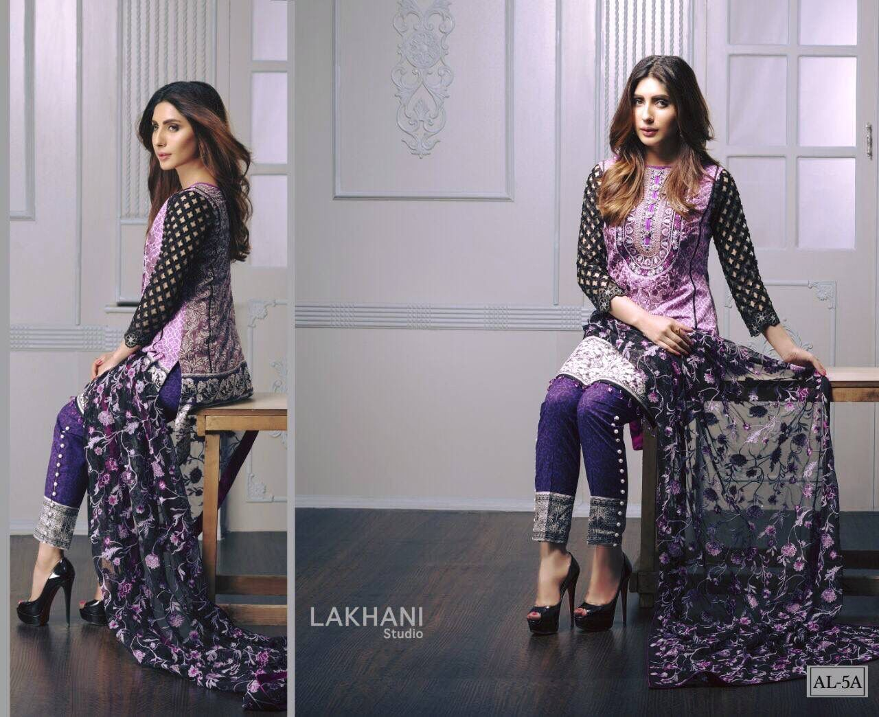 ANUSHEH LAKHANI... designer embroidered lawn collection with pure chiffon./ pure silk /embroideried nett duppattas.  ☎️8802300456