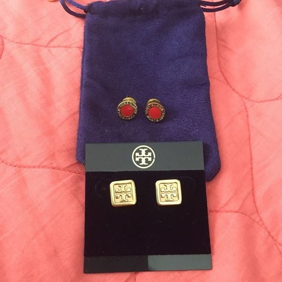 Tory Burch Earrings Authentic Tory Burch earrings orange and gold and gold perfect condition used them a handful of times 55 each one Tory Burch Jewelry Earrings