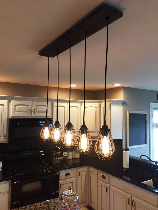 Reclaimed wood chandelier 5 cage pendants pendant for Island kitchen lighting fixtures
