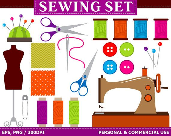 Digital Sewing Clip Art Sewing Machine, Buttons, Threads, Fabric ...