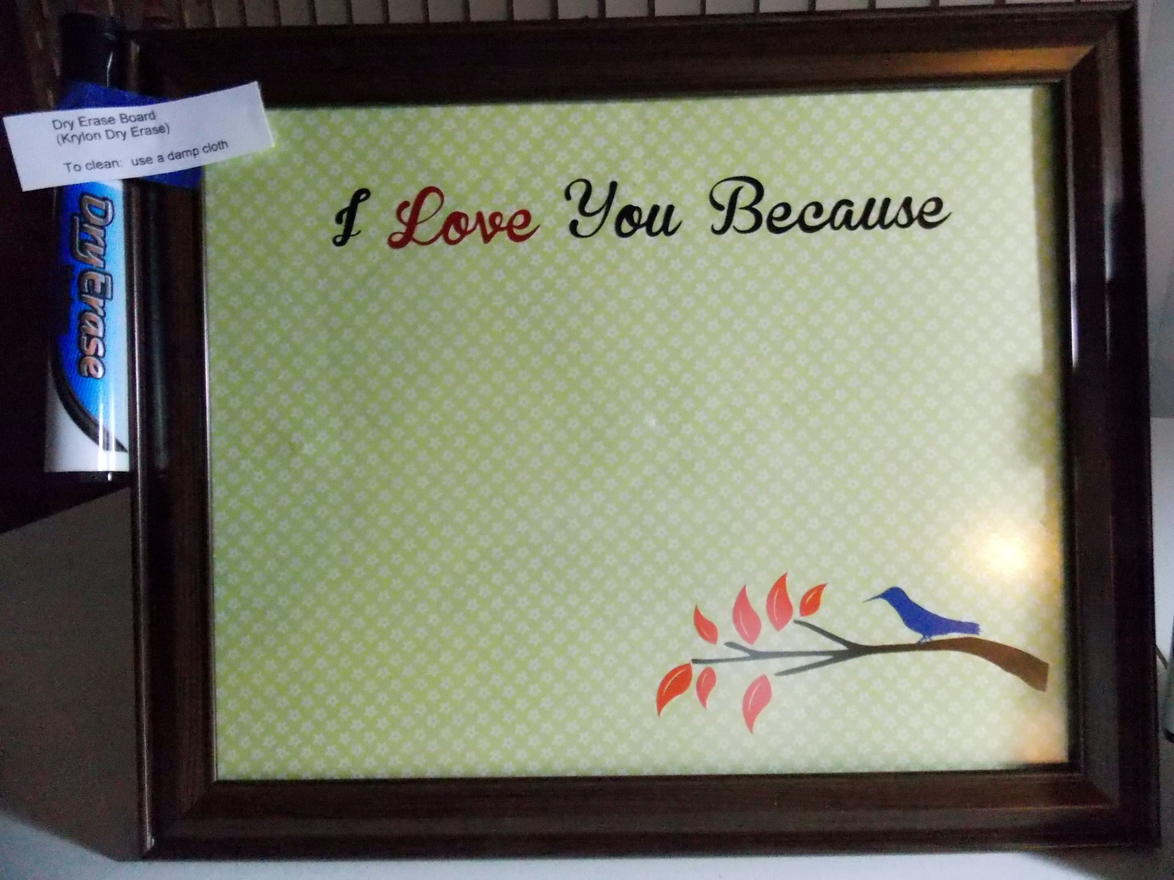 Upcycled glass picture frame painted with clear dry erase paint ...