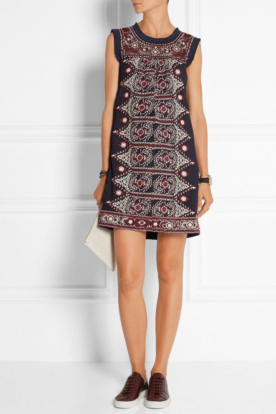 SEA | Embroidered woven cotton mini dress | NET-A-PORTER.COM